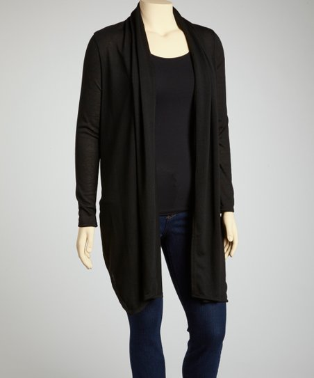 Black Long Open Cardigan - Plus