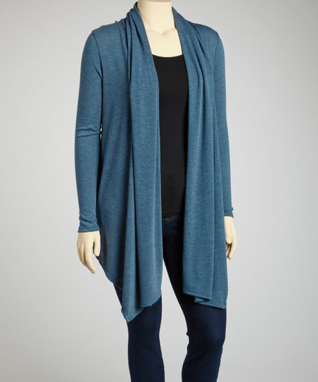 Blue Long Open Cardigan - Plus