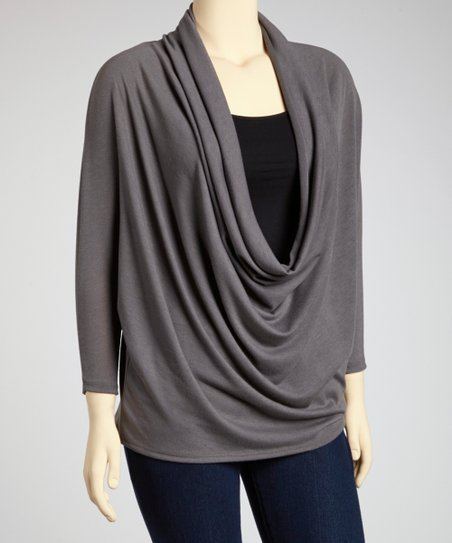 Gray Dolman Drape Top - Plus