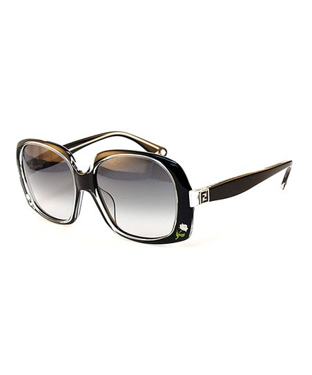 Black & Crystal Square Sunglasses