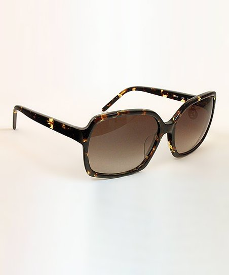 Havana Thin Frame Square Sunglasses