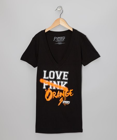 Black 'Love Orange' Tee - Women