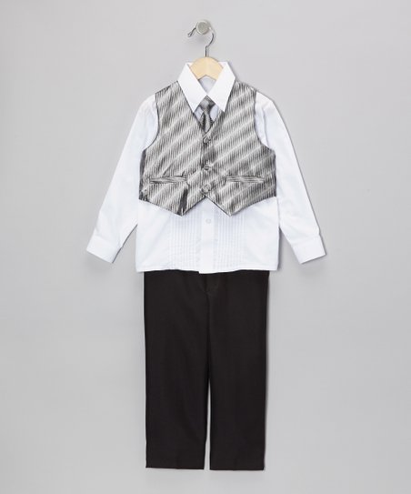 Black & Silver Vest Set - Infant, Toddler & Boys