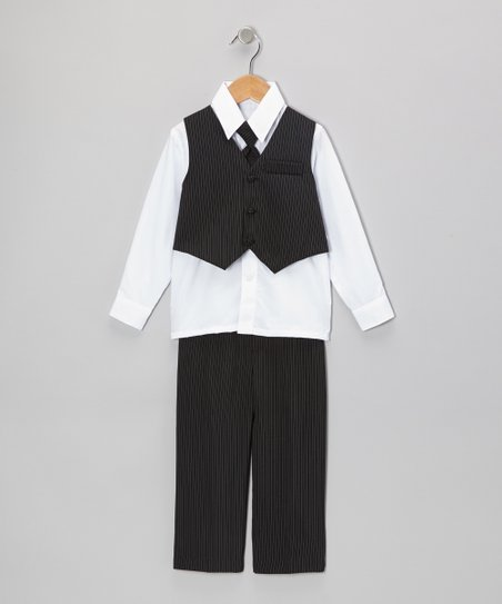 Black & White Pinstripe Vest Set - Infant, Toddler & Boys