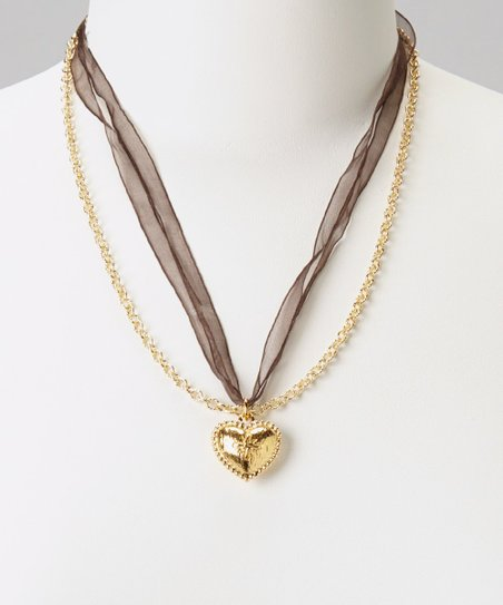 Gold 'VS' Heart Pendant Necklace