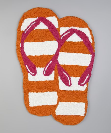 Orange Stripe Flip-Flop Rug