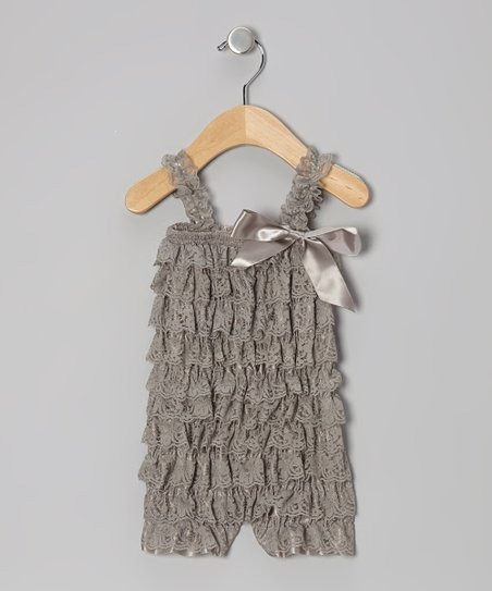 Gray Lace Ruffle Romper - Infant & Toddler
