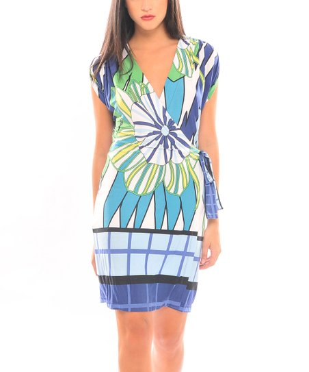 Blue & Green Fiorella Surplice Dress