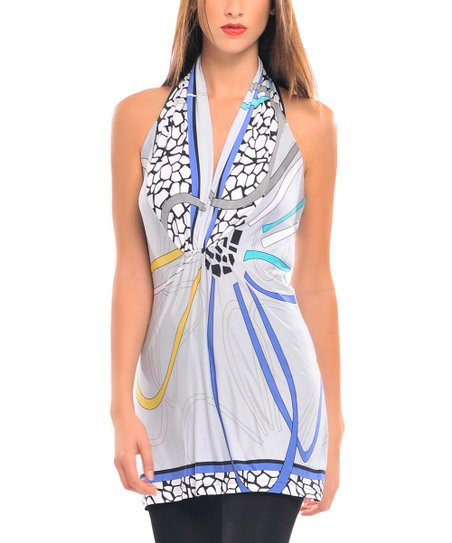Blue & White Liana Halter Tunic