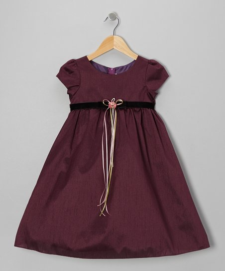 Eggplant Cap-Sleeve A-Line Dress - Infant, Toddler & Girls