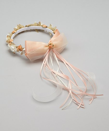Peach Flower Bow Halo