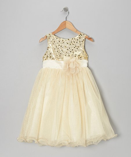 Gold Sequin Tulle A-Line Dress - Toddler & Girls