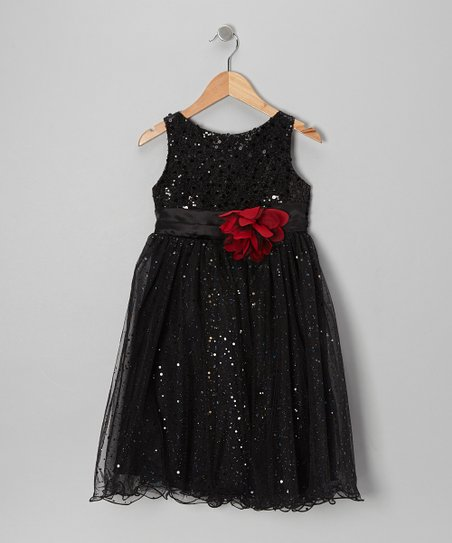 Black Sequin A-Line Dress - Toddler & Girls