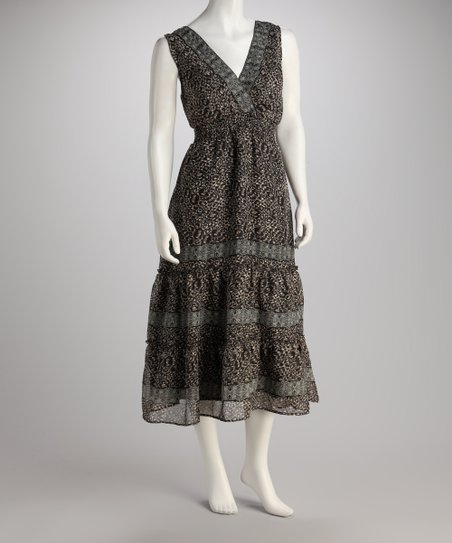Black & Taupe Beaded Shirred Dress