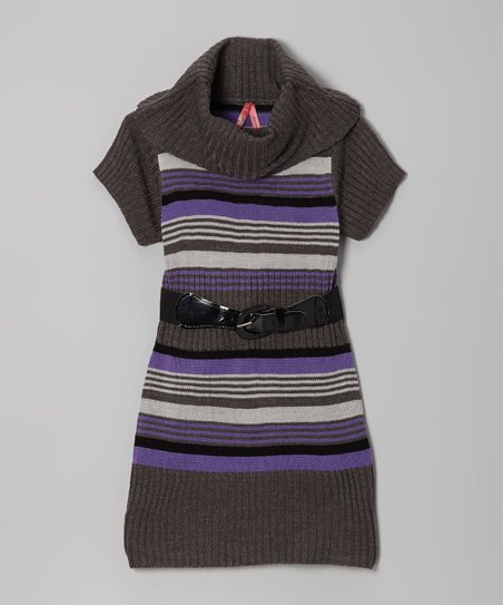 Gray & Blue Stripe Belted Cowl Neck Dress - Toddler & Girls