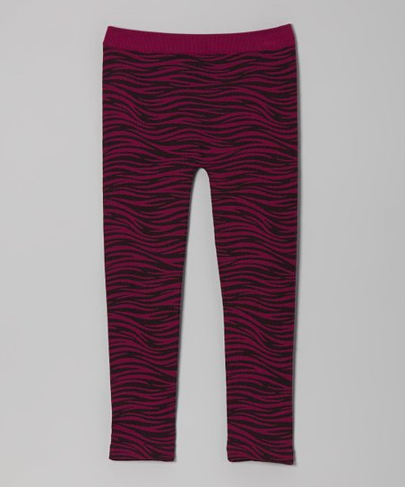 Rose & Black Wave Stripe Leggings - Girls