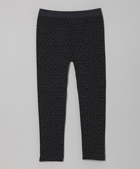 Gray & Black Leopard Leggings - Girls