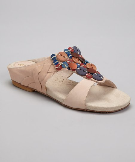Sand Coral Leather Slide