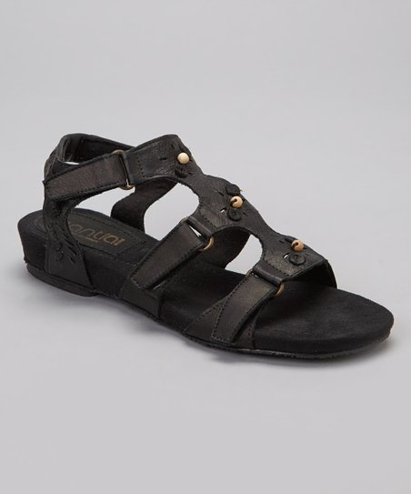 Black Cynthia Leather Sandal