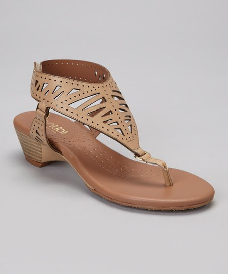 Taupe Megan Leather T-Strap Sandal