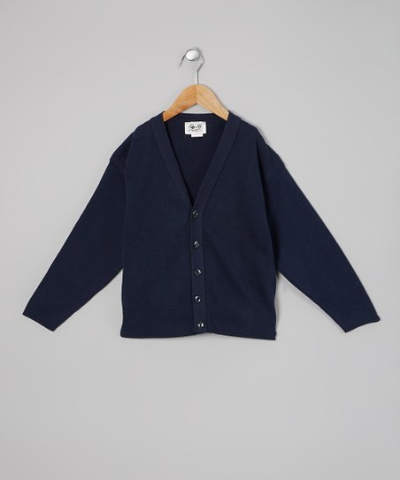 Navy V-Neck Cardigan - Girls