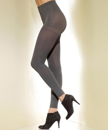 Gray Opaque Footless Shaper Tights - Women & Plus