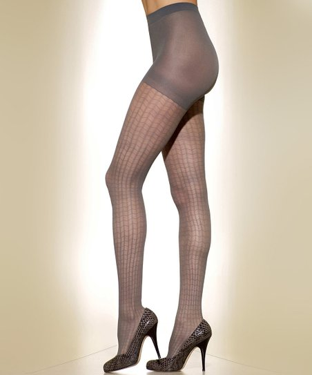 Gray Web Control-Top Shaper Tights - Women & Plus