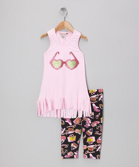 Pink Sunglasses Fringe Tank & Capri Leggings - Girls
