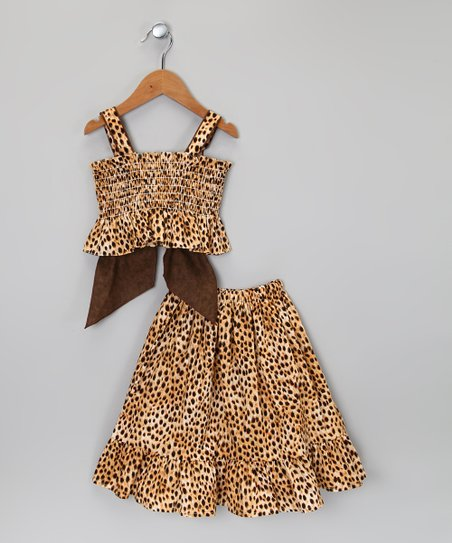 Brown & Black Cheetah Tank & Skirt - Infant, Toddler & Girls
