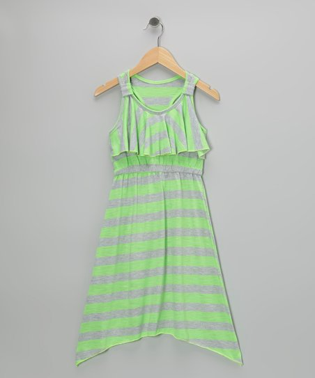 Green Stripe Sidetail Maxi Dress