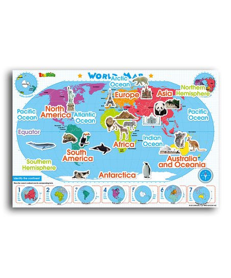 World Map Magnetic Wall Decal Set
