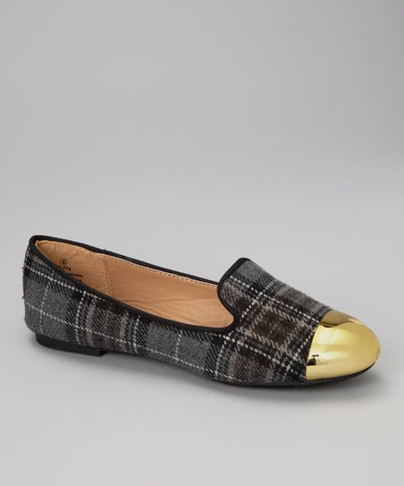 Gray Plaid Metallic Cap Toe Loafers