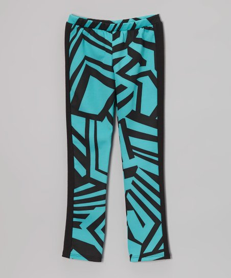 Black & Teal Geometric Leggings - Toddler & Girls