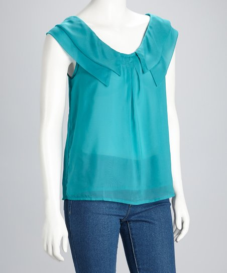 Teal Sheer Double Ruffle Sleeveless Top
