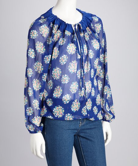 Blue Sheer Keyhole Long-Sleeve Top