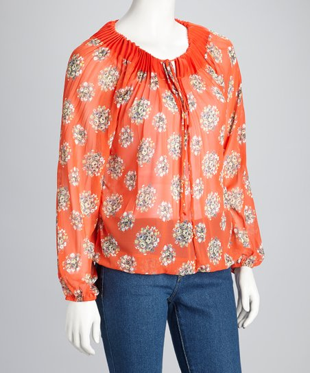 Coral Sheer Keyhole Long-Sleeve Top
