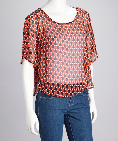 Orange & Navy Sheer Cape Sleeve Top
