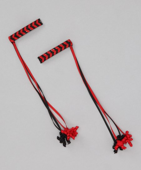 Red & Black Korker Braid Clip Set