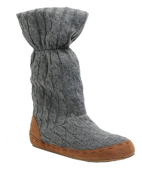 Gray Twisted Knit Cozzie Slipper