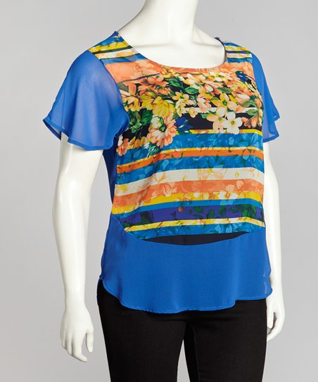Royal Sheer Floral Top - Plus