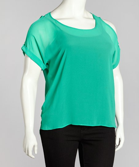 Green Sheer Button Back Cutout Top - Plus