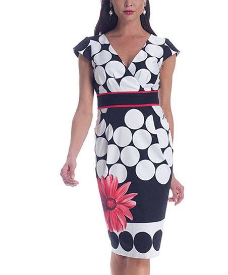 Navy & White Flower Shaper Surplice Dress