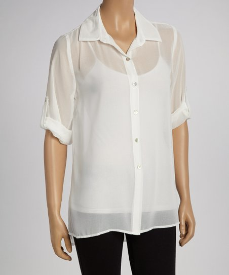 Off-White Sheer Button-Up