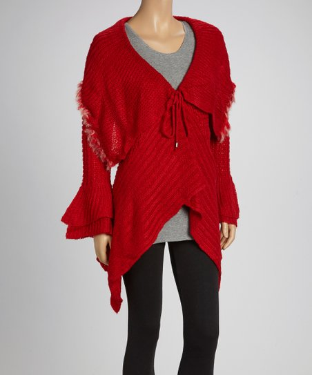 Red Fringe Sidetail Cardigan - Women & Plus