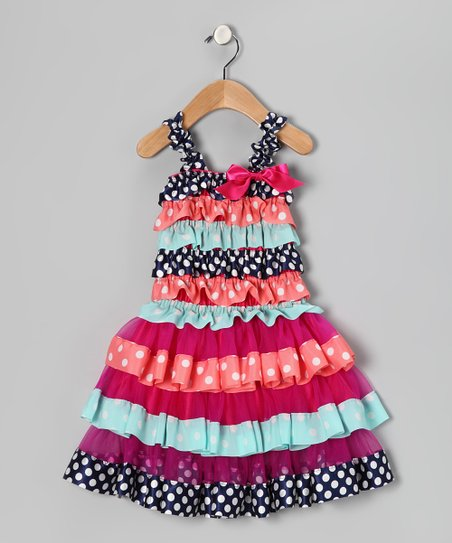 Navy & Coral Polka Dot Ruffle Dress - Infant & Toddler