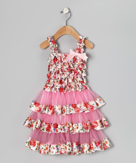 Pink & Red Rose Ruffle Dress - Infant & Toddler