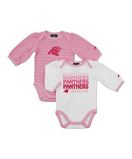 Pink Carolina Panthers Long-Sleeve Bodysuit Set - Infant