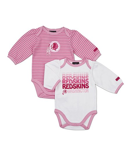 Pink Washington Redskins Long-Sleeve Bodysuit Set - Infant