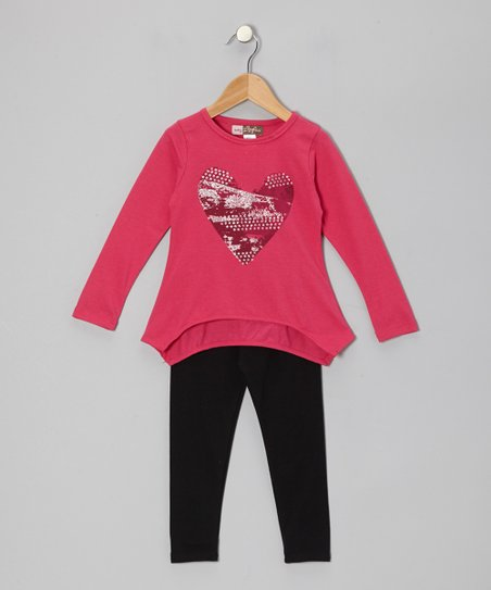 Fuchsia Heart Sidetail Tunic & Leggings - Toddler
