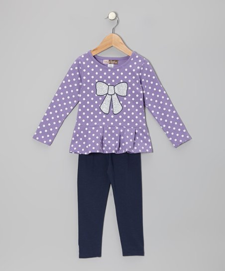 Purple Polka Dot Tunic & Leggings - Toddler